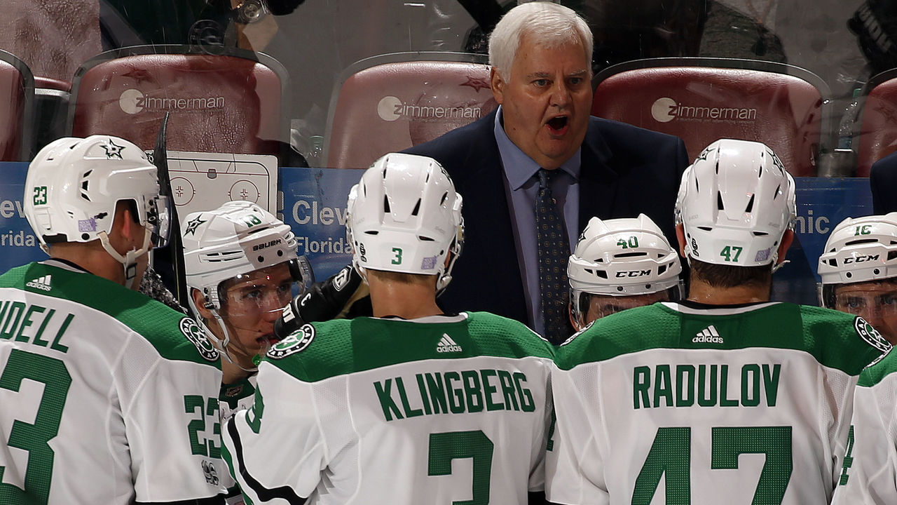 SUNRISE, FL - NOVEMBER 14: Dallas Stars Head Coach Ken Hitchcock directs his team from the bench during a break in the action against the Florida Panthers at the BB&T Center on November 14, 2017 in Sunrise, Florida.