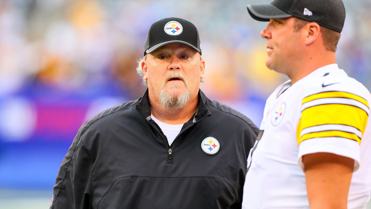 EAST RUTHERFORD, NJ - AUGUST 11: Pittsburgh Steelers quarterback coach Randy Fichtner talks with Pittsburgh Steelers quarterback Ben Roethlisberger (7) prior to the Preseason National Football League game between the New York Giants and the Pittsburgh Steelers on August 11, 2017, at Met Life Stadium in East Rutherford, NJ.
