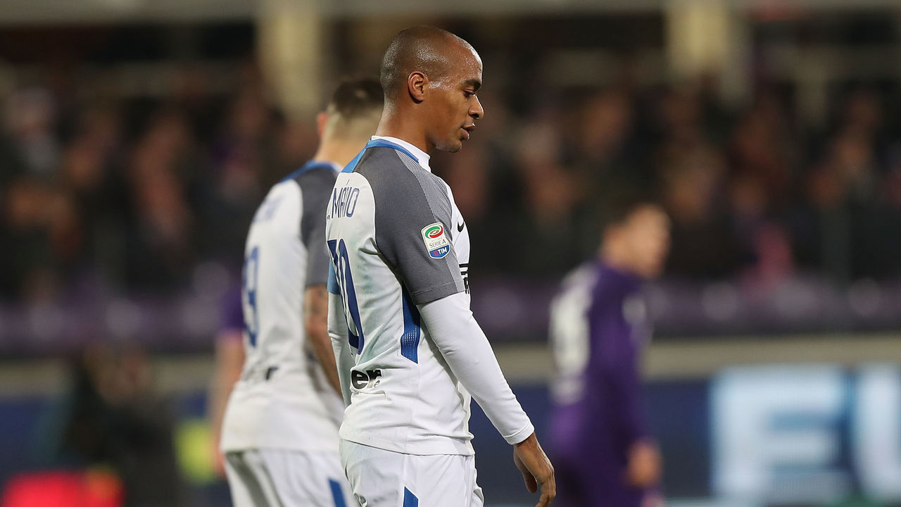 FLORENCE, ITALY - JANUARY 05: Joao Mario of FC Internazionale in action during the serie A match between ACF Fiorentina and FC Internazionale at Stadio Artemio Franchi on January 5, 2018 in Florence, Italy.