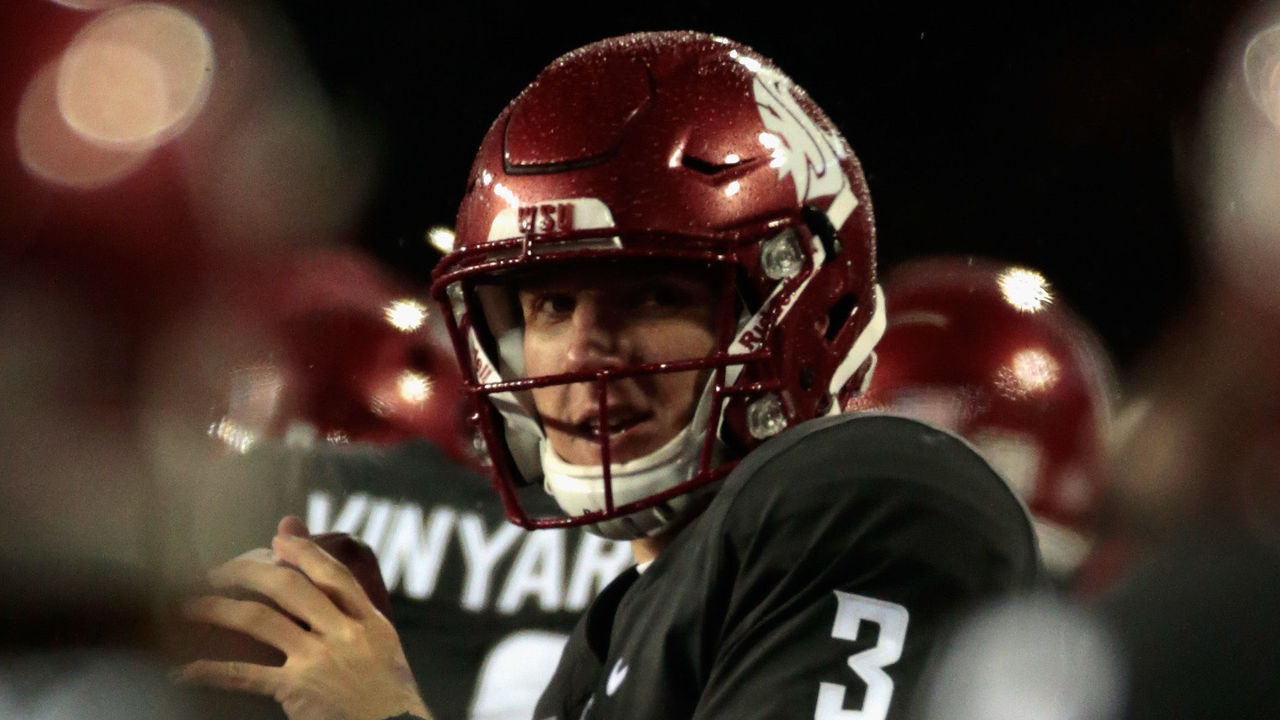 PULLMAN, WA - OCTOBER 21: Tyler Hilinski #3 of the Washington State Cougars warms up from the sidelines in the second half against the Colorado Buffaloes at Martin Stadium on October 21, 2017 in Pullman, Washington. Washington State defeated Colorado 28-0.