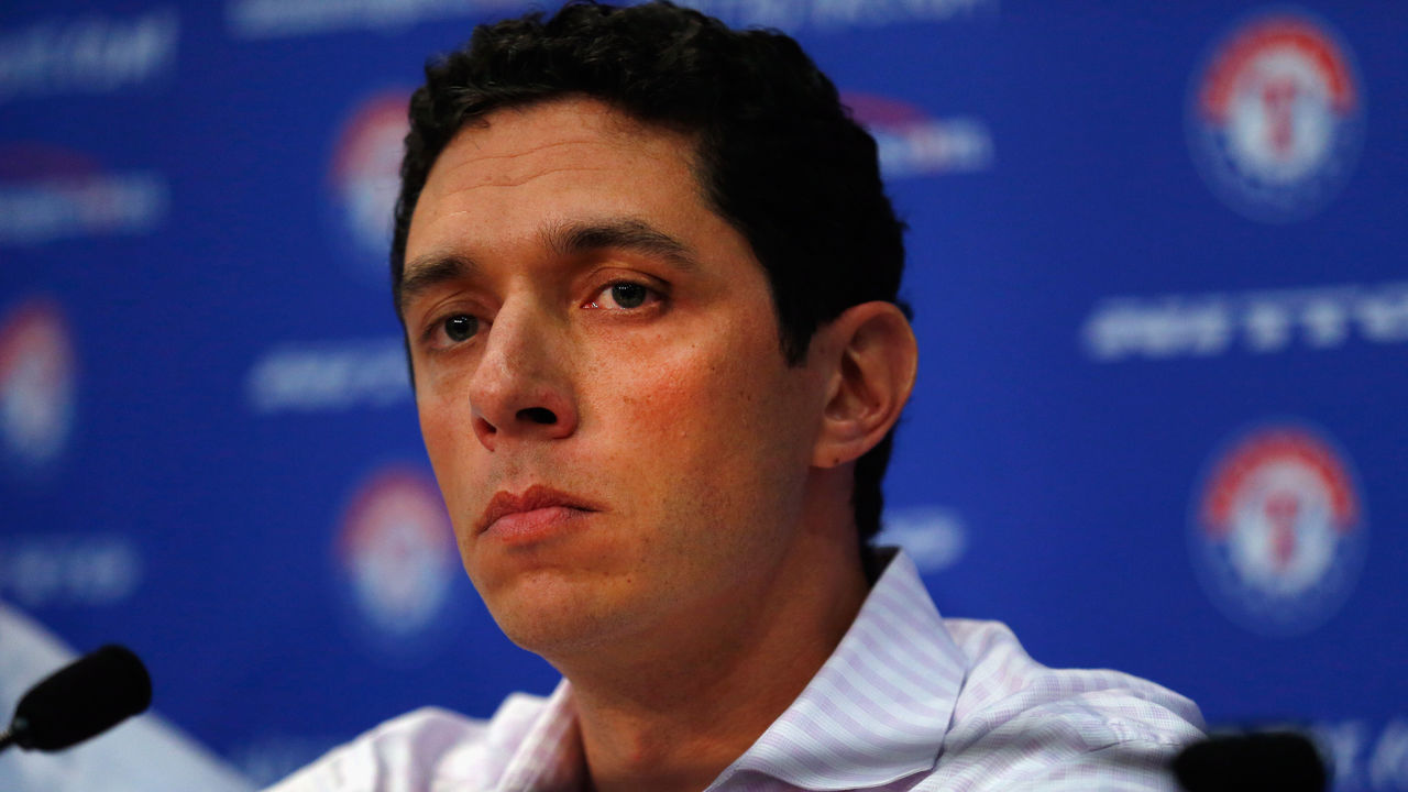 ARLINGTON, TX - SEPTEMBER 05: President of Baseball Operations and General Manager Jon Daniels of the Texas Rangers talks with the media after announcing the resignation of Manager Ron Washington at Globe Life Park in Arlington on September 5, 2014 in Arlington, Texas. Ron Washington informed the club that he has chosen to resign in order to turn his full attention to addressing an off-the-field personal matter.
