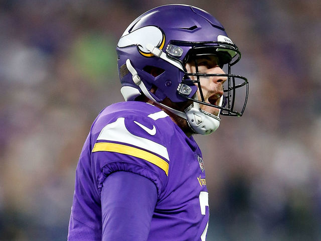 MINNEAPOLIS, MN - JANUARY 14: Case Keenum #7 of the Minnesota Vikings celebrates after a touchdown against the New Orleans Saints during the first half of the NFC Divisional Playoff game at U.S. Bank Stadium on January 14, 2018 in Minneapolis, Minnesota.