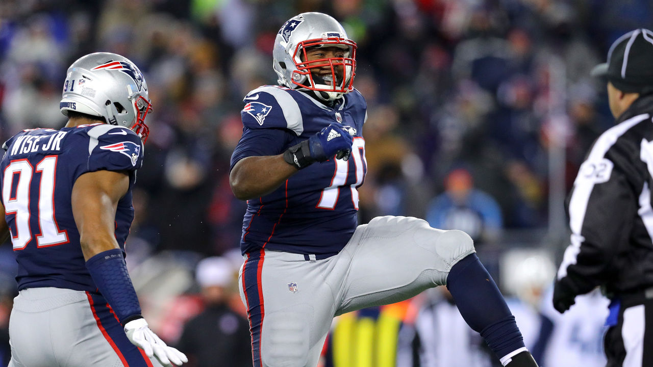 FOXBOROUGH, MA - JANUARY 13: Adam Butler #70 of the New England Patriots reacts during the fourth quarter in the AFC Divisional Playoff game against the Tennessee Titans at Gillette Stadium on January 13, 2018 in Foxborough, Massachusetts.