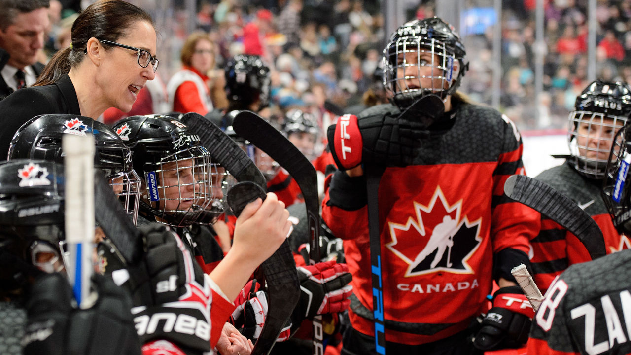 ST PAUL, MN - DECEMBER 03: Head coach Laura Schuler of Canada speaks to her players in a timeout during the game against the United States on December 3, 2017 at Xcel Energy Center in St Paul, Minnesota. Canada defeated the United States 2-1 in overtime.