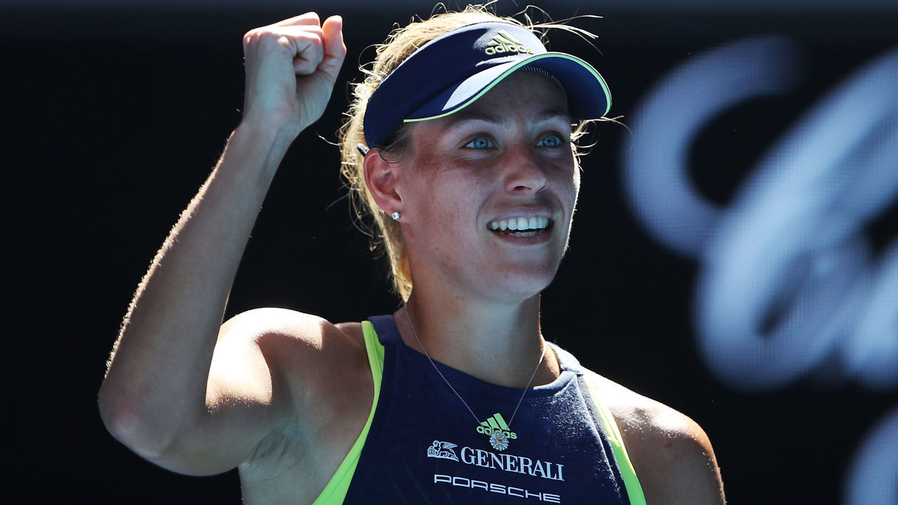 MELBOURNE, AUSTRALIA - JANUARY 18: Angelique Kerber of Germany celebrates winning a point in her second round match against Donna Vekic of Croatia on day four of the 2018 Australian Open at Melbourne Park on January 18, 2018 in Melbourne, Australia.