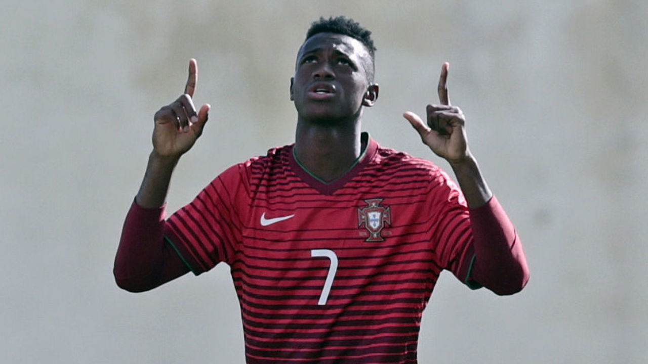 FERREIRAS, PORTUGAL - FEBRUARY 14: Umaro Embalo of Portugal U17 celebrating his goal during the U17 Algarve Cup Tournament Match between Portugal U17 and germany U17 on February 14, 2017 in Ferreiras, Portugal.
