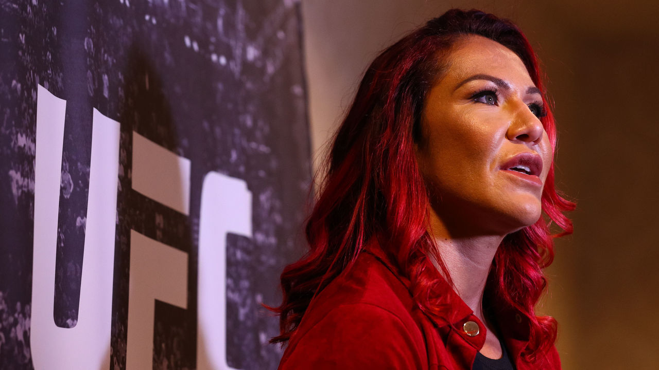 RIO DE JANEIRO, BRAZIL - AUGUST 15: UFC Featherweight Champion Cris Cyborg attends a press conference at the Hilton Hotel in Copacabana on August 15, 2017 in Rio de Janeiro, Brazil.