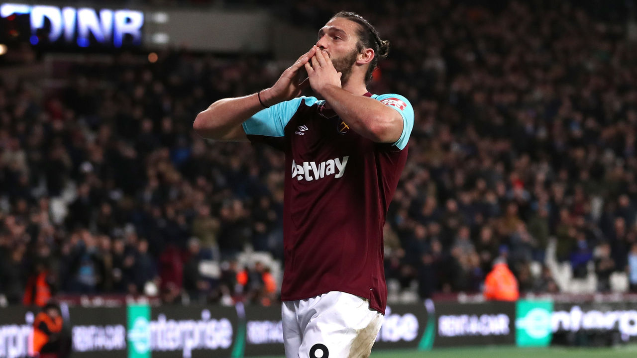 LONDON, ENGLAND - JANUARY 02: Andy Carroll of West Ham United celebrates after scoring his sides first goal during the Premier League match between West Ham United and West Bromwich Albion at London Stadium on January 2, 2018 in London, England.