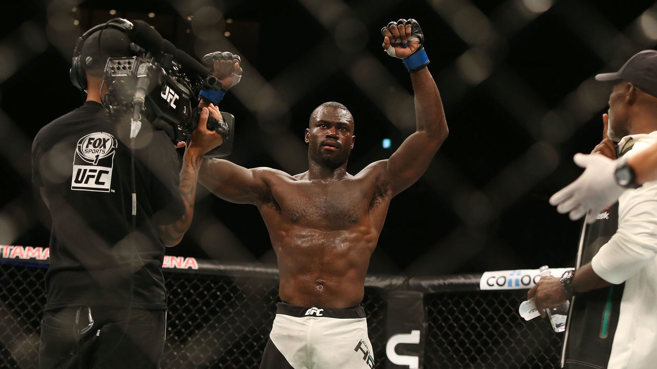 SAITAMA, JAPAN - SEPTEMBER 27: Uriah Hall of Jamaica celebrates after knocking Gegard Mousasi of Iran out in their middleweight bought during UFC Fight Night at Saitama Super Arena on September 27, 2015 in Saitama, Japan.