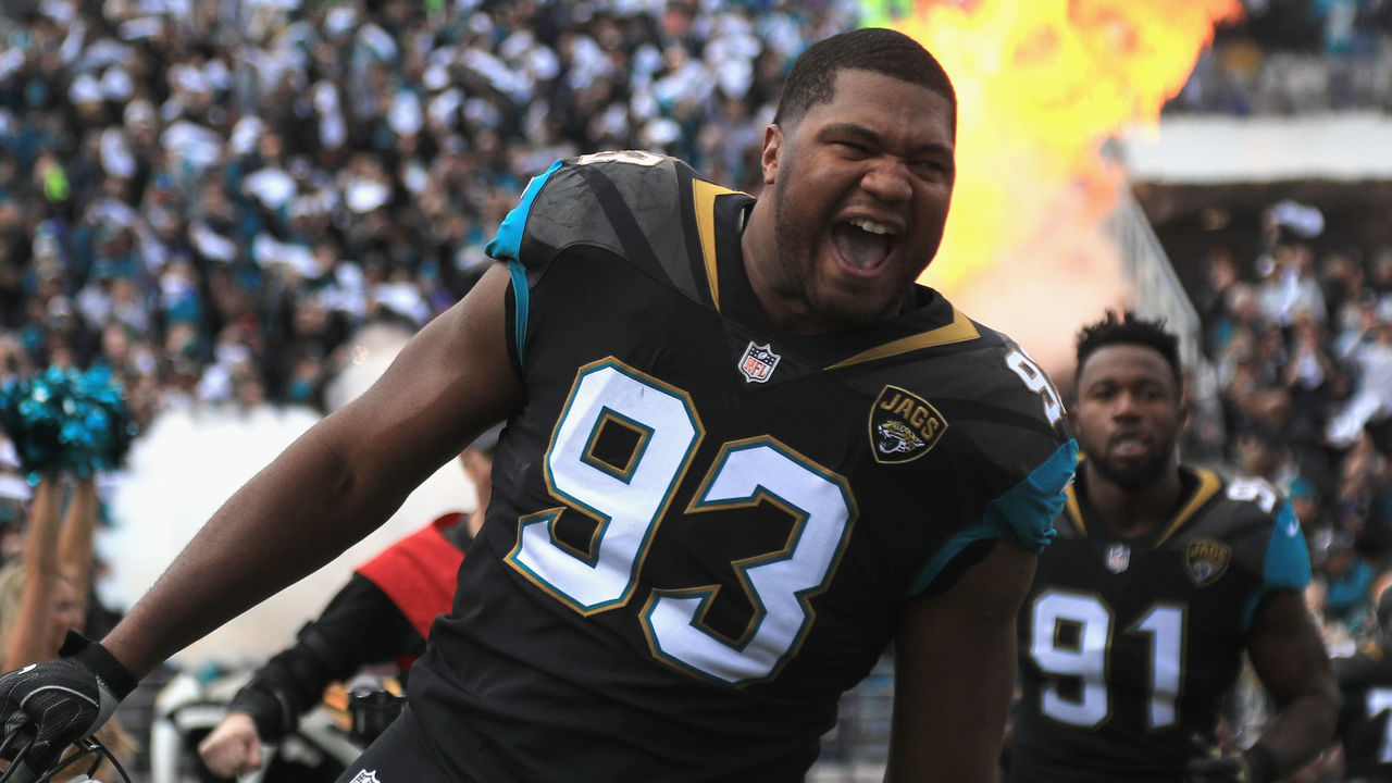 JACKSONVILLE, FL - JANUARY 07: Defensive end Calais Campbell #93 of the Jacksonville Jaguars takes the field before the start of the AFC Wild Card Playoff game against the Buffalo Bills at EverBank Field on January 7, 2018 in Jacksonville, Florida.