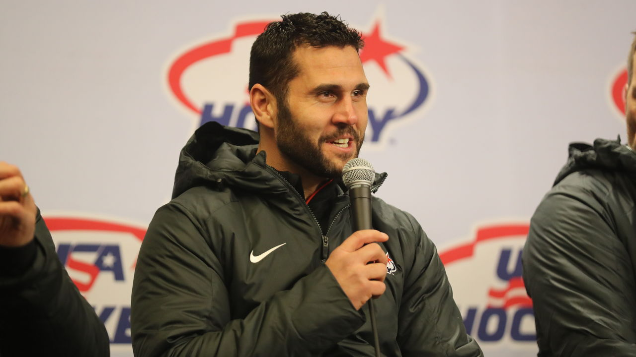 NEW YORK, NY - JANUARY 01: Team USA hockey captain Brian Gionta speaks to the media during the 2018 Bridgestone NHL Winter Classic at Citi Field on January 1, 2018 in the Flushing neighborhood of the Queens borough of New York City.
