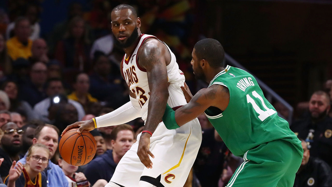CLEVELAND, OH - OCTOBER 17: LeBron James #23 of the Cleveland Cavaliers looks to get around Kyrie Irving #11 of the Boston Celtics during the second half at Quicken Loans Arena on October 17, 2017 in Cleveland, Ohio. Cleveland won the game 102-99.