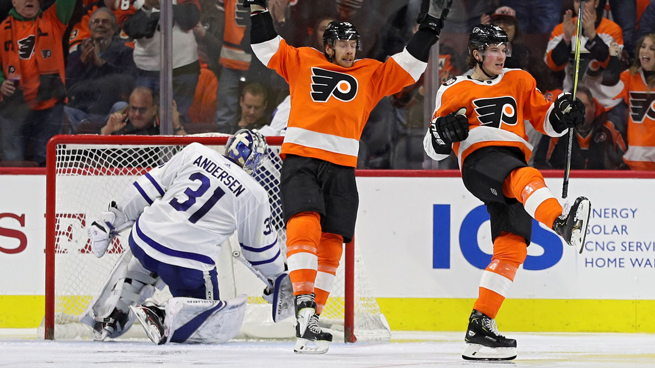 PHILADELPHIA, PA - JANUARY 18: Nolan Patrick #19 of the Philadelphia Flyers celebrates his goal against the Toronto Maple Leafs during the third period at Wells Fargo Center on January 18, 2018 in Philadelphia, Pennsylvania.