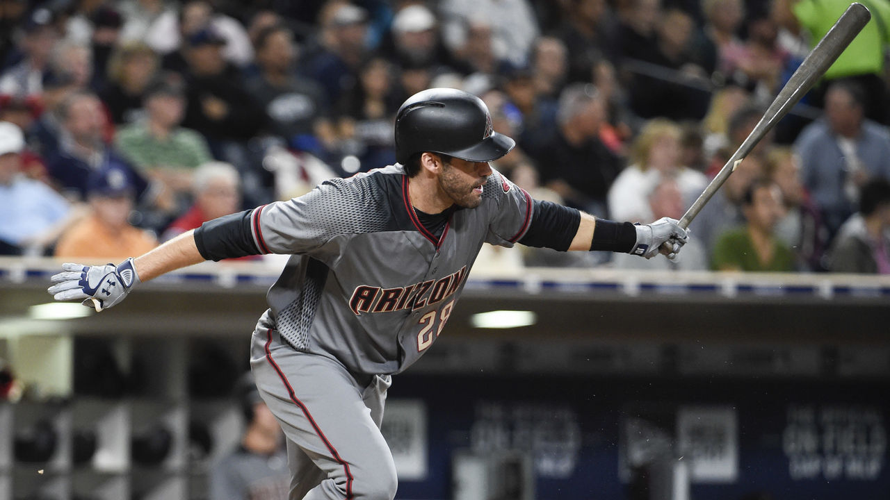 SAN DIEGO, CA - SEPTEMBER 18: J.D. Martinez #28 of the Arizona Diamondbacks hits an RBI single during the third inning of a baseball game against the San Diego Padres at PETCO Park on September 18, 2017 in San Diego, California.