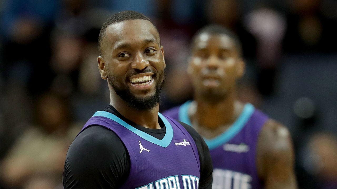 CHARLOTTE, NC - JANUARY 12: Kemba Walker #15 of the Charlotte Hornets reacts after a play against the Utah Jazz during their game at Spectrum Center on January 12, 2018 in Charlotte, North Carolina.