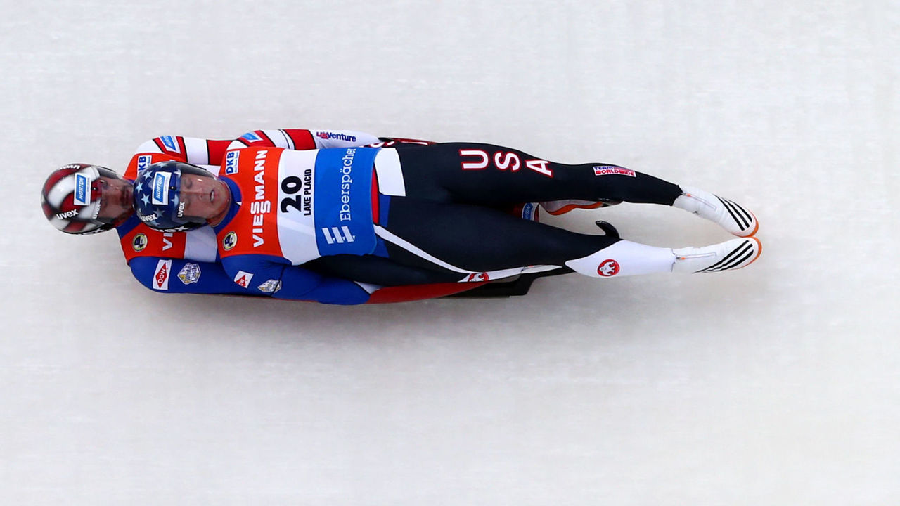 LAKE PLACID, NY - DECEMBER 15: Matt Mortensen, top, and Jayson Terdiman of the United States compete in the Doubles event at the Viessmann FIL Luge World Cup at Lake Placid Olympic Center on December 15, 2017 in Lake Placid, New York.