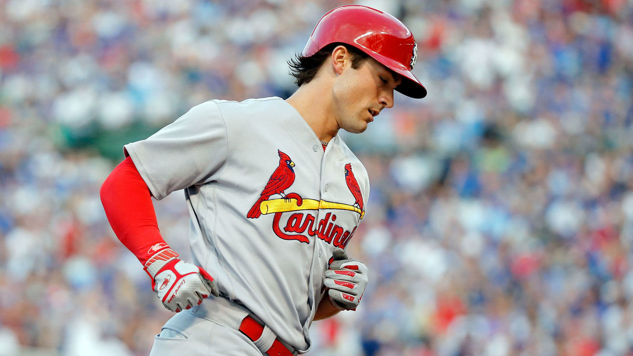 CHICAGO, IL - JULY 23: Randal Grichuk #15 of the St. Louis Cardinals rounds the bases after hitting a two run home run against the Chicago Cubs during the second inning at Wrigley Field on July 23, 2017 in Chicago, Illinois.