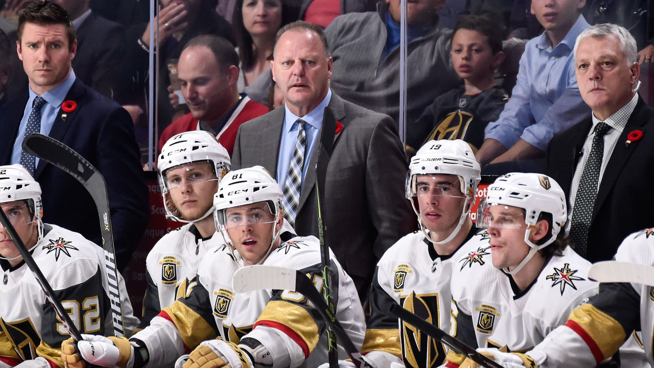 MONTREAL, QC - NOVEMBER 07: Head coach of the Vegas Golden Knights Gerard Gallant looks on from behind the bench against the Montreal Canadiens during the NHL game at the Bell Centre on November 7, 2017 in Montreal, Quebec, Canada. The Montreal Canadiens defeated the Vegas Golden Knights 3-2.
