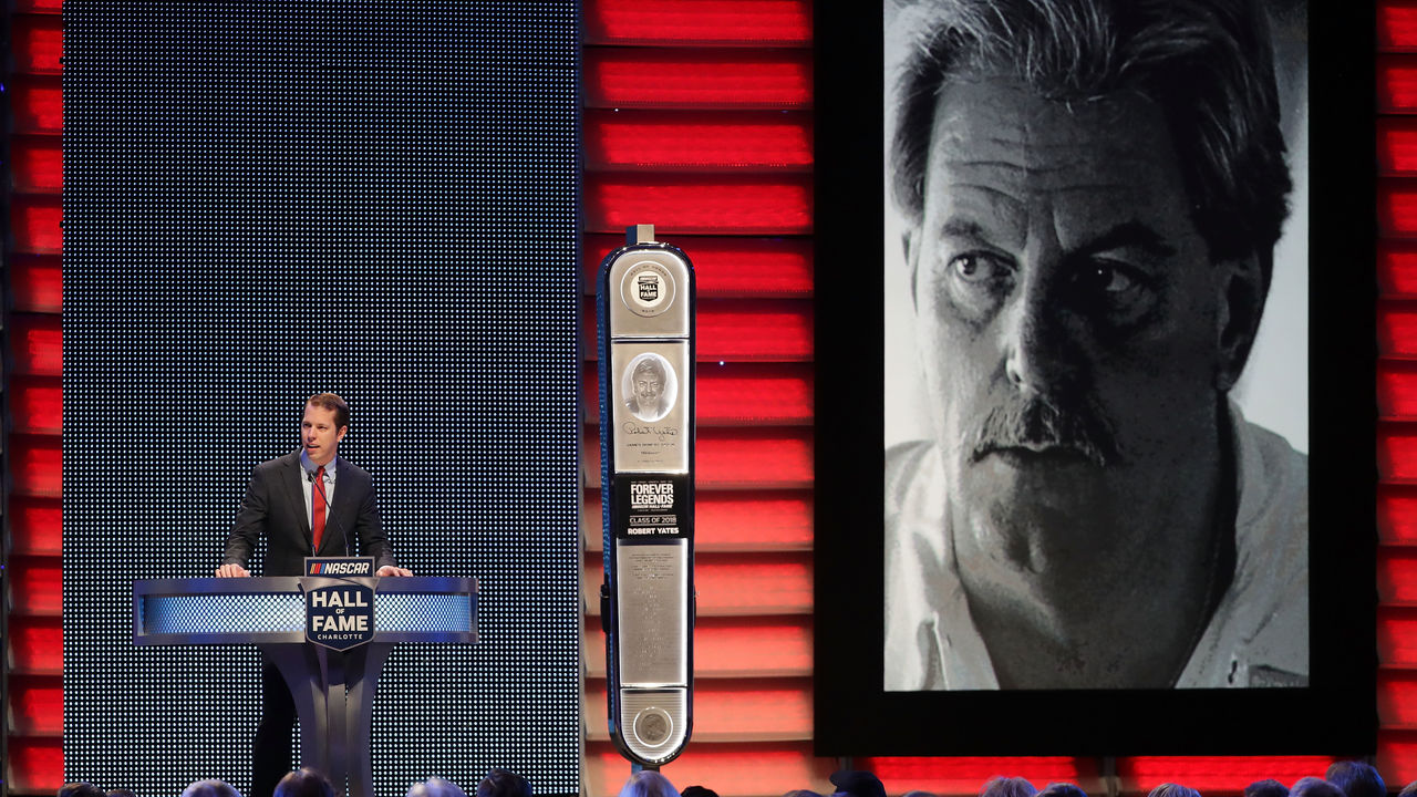 CHARLOTTE, NC - JANUARY 19: Brad Keselowski inducts Robert Yates to the Hall of Fame during the NASCAR Hall of Fame Induction Ceremony at Charlotte Convention Center on January 19, 2018 in Charlotte, North Carolina.