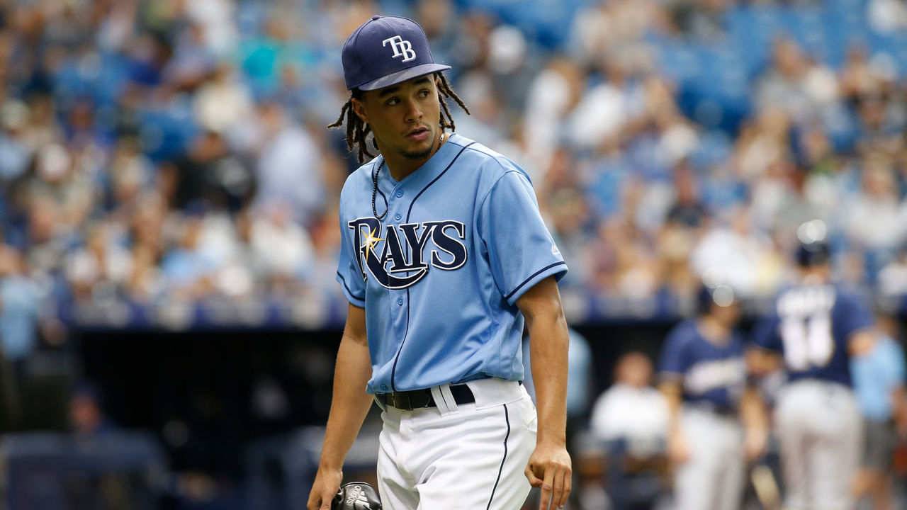 ST. PETERSBURG, FL - AUGUST 6: Pitcher Chris Archer #22 of the Tampa Bay Rays walks back to the dugout following the top of the sixth inning inning of a game against the Milwaukee Brewers on August 6, 2017 at Tropicana Field in St. Petersburg, Florida.