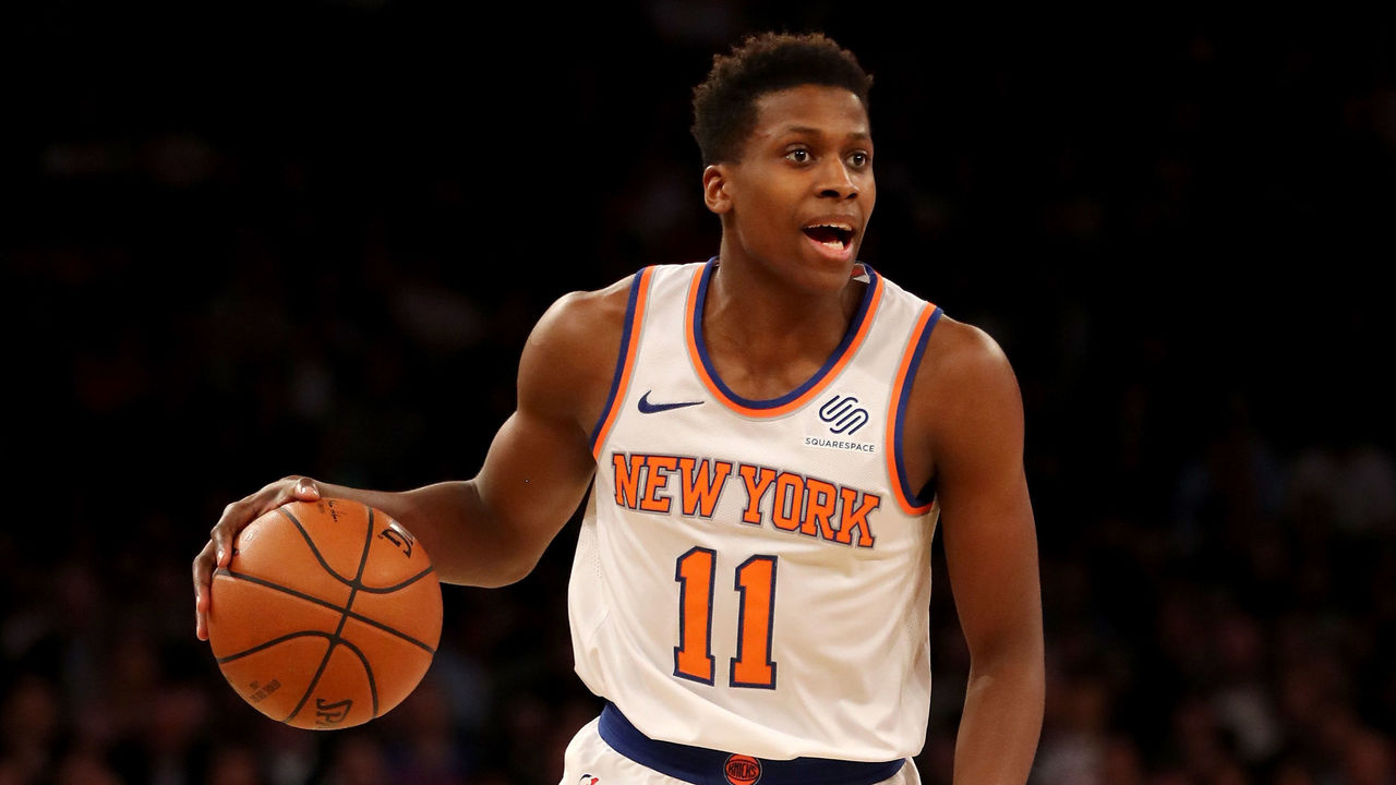 NEW YORK, NY - JANUARY 10: Frank Ntilikina #11 of the New York Knicks calls out the play in the second half against the Chicago Bulls at Madison Square Garden on January 10, 2018 in New York City.The Chicago Bulls defeated the New York Knicks 122-119 in double overtime.
