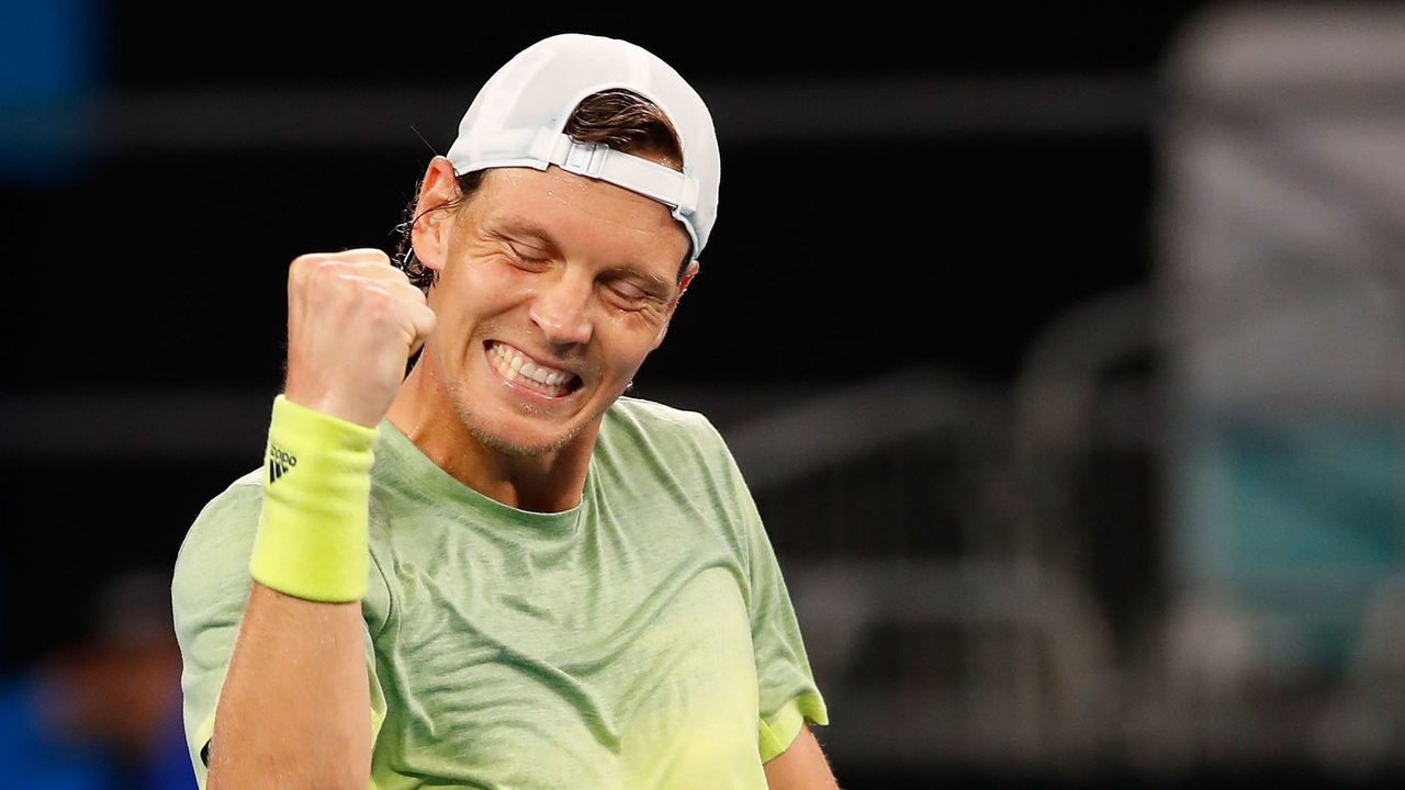 MELBOURNE, AUSTRALIA - JANUARY 20: Tomas Berdych of the Czech Republic celebrates winning match point in his third round match against Juan Martin Del Potro of Argentina on day six of the 2018 Australian Open at Melbourne Park on January 20, 2018 in Melbourne, Australia.