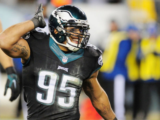 PHILADELPHIA PA - DECEMBER 07 Mychal Kendricks 95 of the Philadelphia Eagles reacts against the Seattle Seahawks in the first half of the game at Lincoln Financial Field on December 7 2014 in Philadelphia Pennsylvania