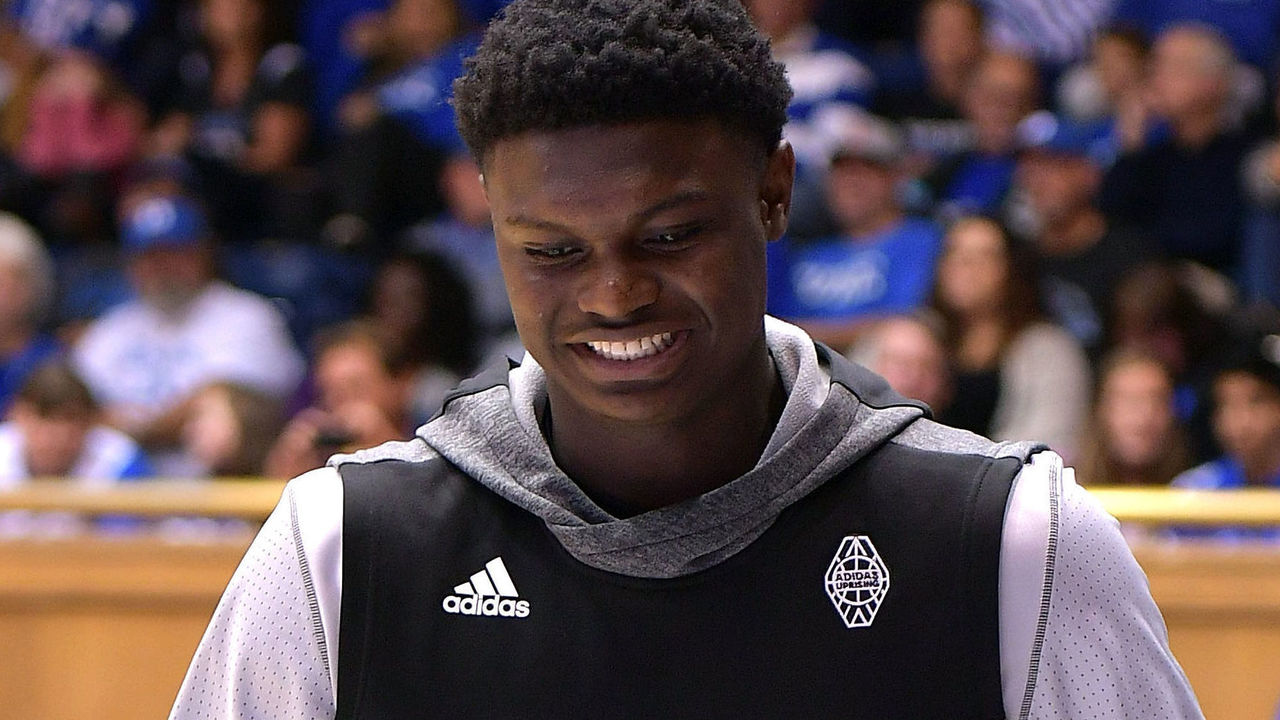 DURHAM, NC - OCTOBER 22: High school basketball player Zion Williamson (Spartanburg Day School - Spartanburg, SC) attends Countdown To Craziness at Cameron Indoor Stadium on October 22, 2016 in Durham, North Carolina.
