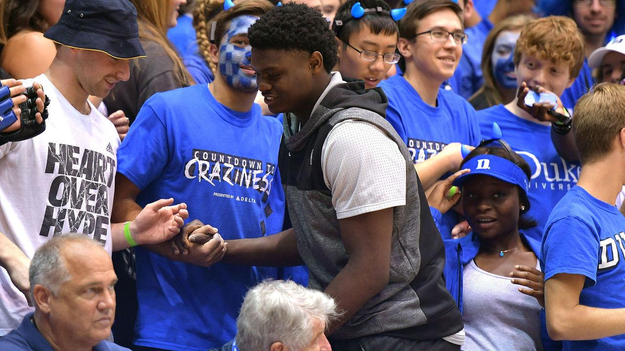 DURHAM, NC - OCTOBER 22: High school basketball player Zion Williamson, center, (Spartanburg Day School - Spartanburg, SC) attends Countdown To Craziness at Cameron Indoor Stadium on October 22, 2016 in Durham, North Carolina.