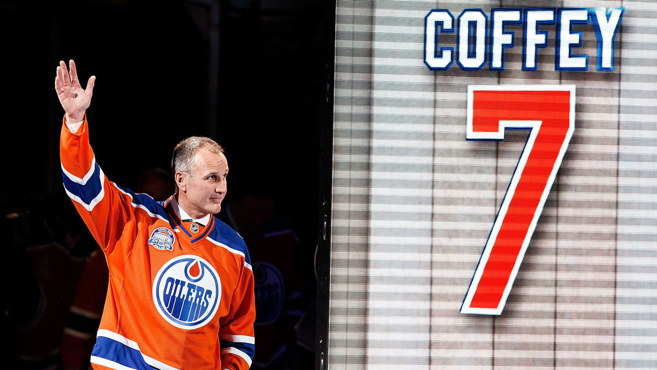 EDMONTON, AB - APRIL 6: Former Oiler Paul Coffey is introduced during the closing ceremonies at Rexall Place following the game between the Edmonton Oilers and the Vancouver Canucks on April 6, 2016 at Rexall Place in Edmonton, Alberta, Canada. The game was the final game the Oilers played at Rexall Place before moving to Rogers Place next season.