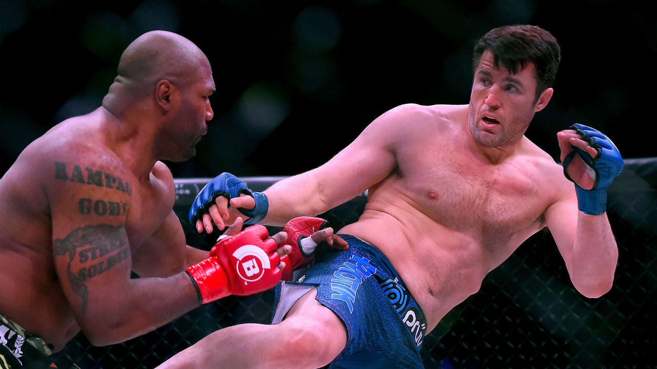 INGLEWOOD, CA - JANUARY 20: Chael Sonnen (blue gloves) as he defeated Quinton Jackson (red gloves) in their Heavyweight World Title fight at Bellator 192 at The Forum on January 20, 2018 in Inglewood, California.