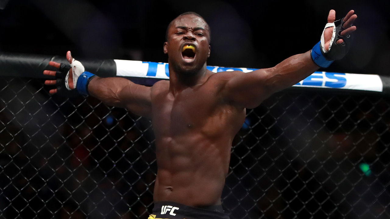 BOSTON, MA - JANUARY 20: Abdul Razak Alhassan reacts after knocking out Sabah Homasi in the first round of their Welterweight fight during UFC 220 at TD Garden on January 20, 2018 in Boston, Massachusetts.