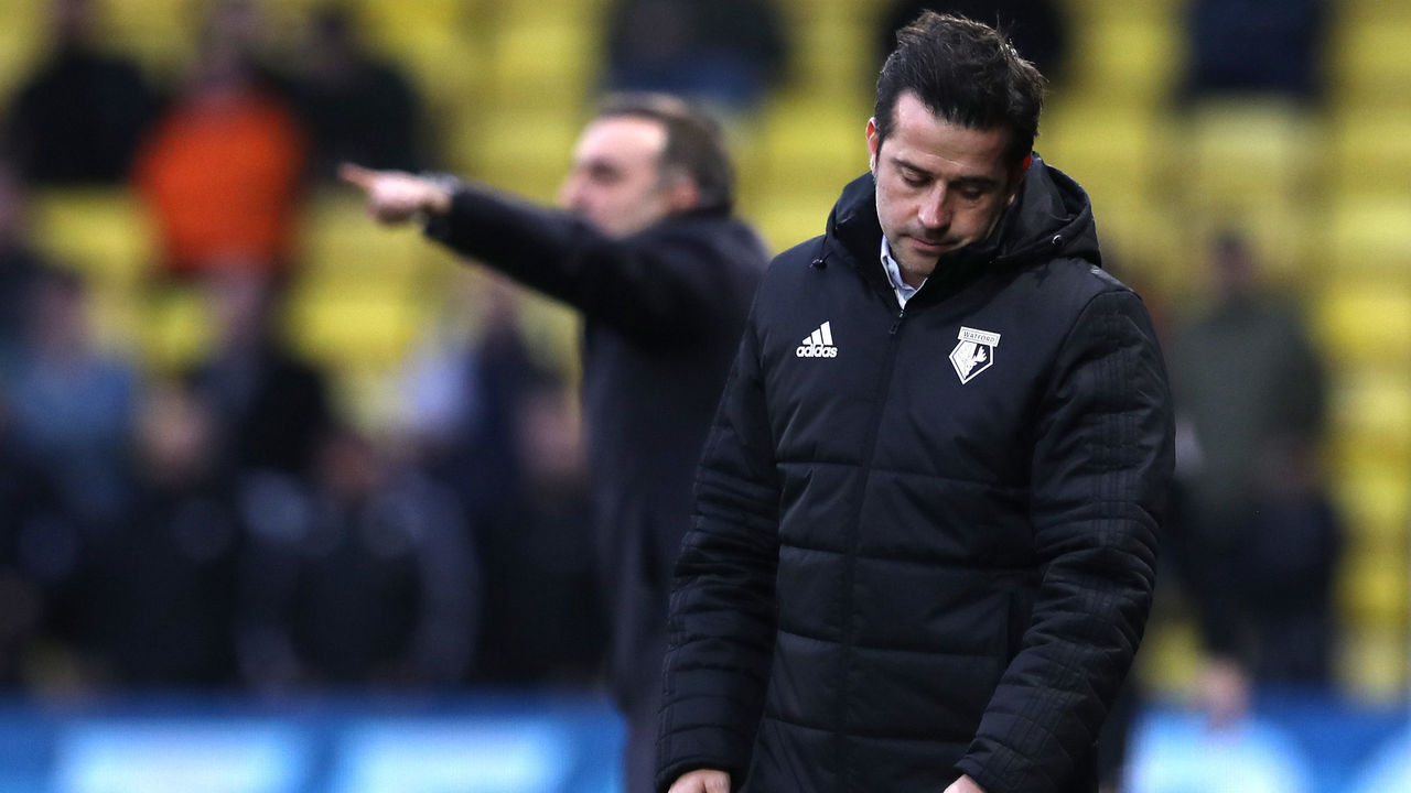 WATFORD, ENGLAND - DECEMBER 30: Marco Silva, Manager of Watford looks dejected during the Premier League match between Watford and Swansea City at Vicarage Road on December 30, 2017 in Watford, England.