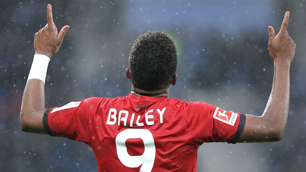 Leverkusen's Jamaican midfielder Leon Bailey celebrates after scoring the 0-1 during the German First division Bundesliga football match TSG 1899 Hoffenheim vs Bayer 04 Leverkusen in Sinsheim, southwestern Germany, on January 20, 2018. / AFP PHOTO / Amelie QUERFURTH / RESTRICTIONS: DURING MATCH TIME: DFL RULES TO LIMIT THE ONLINE USAGE TO 15 PICTURES PER MATCH AND FORBID IMAGE SEQUENCES TO SIMULATE VIDEO. == RESTRICTED TO EDITORIAL USE == FOR FURTHER QUERIES PLEASE CONTACT DFL DIRECTLY AT + 49 69 650050