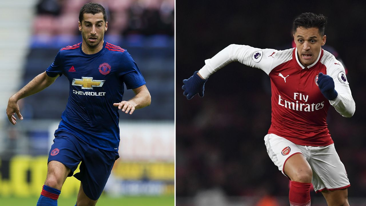 A combination image shows Manchester United's Armenian midfielder Henrikh Mkhitaryan (L) and Arsenal's Chilean striker Alexis Sanchez. Arsenal forward Alexis Sanchez and Manchester United midfielder Henrikh Mkhitaryan were set to undergo medicals as their swap deal nears completion, reports said January 21, 2018. / AFP PHOTO / JON SUPER