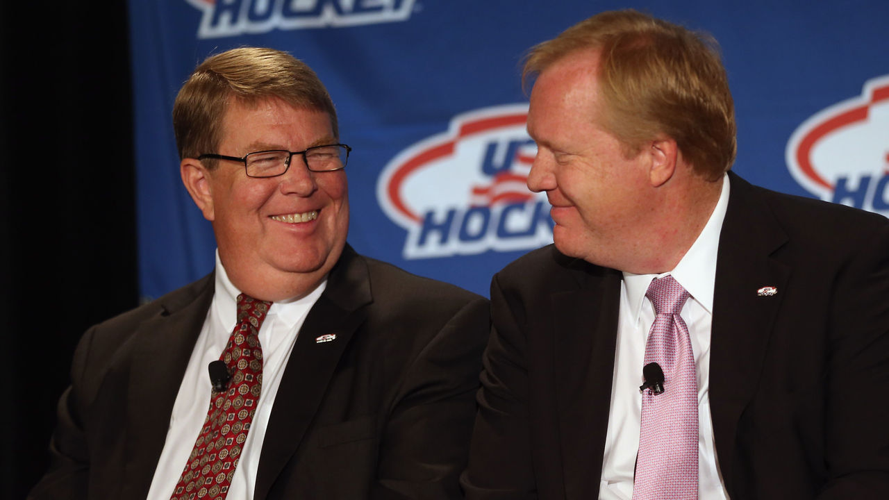 NEW YORK, NY - JUNE 29: Dave Ogrean, executive director and Jim Johannson, assistant executive director of hockey operations for USA Hockey speak with the media regarding the 2014 Men's Olympic Hockey Team at the Marriott Marquis Hotel on June 29, 2013 in New York City.