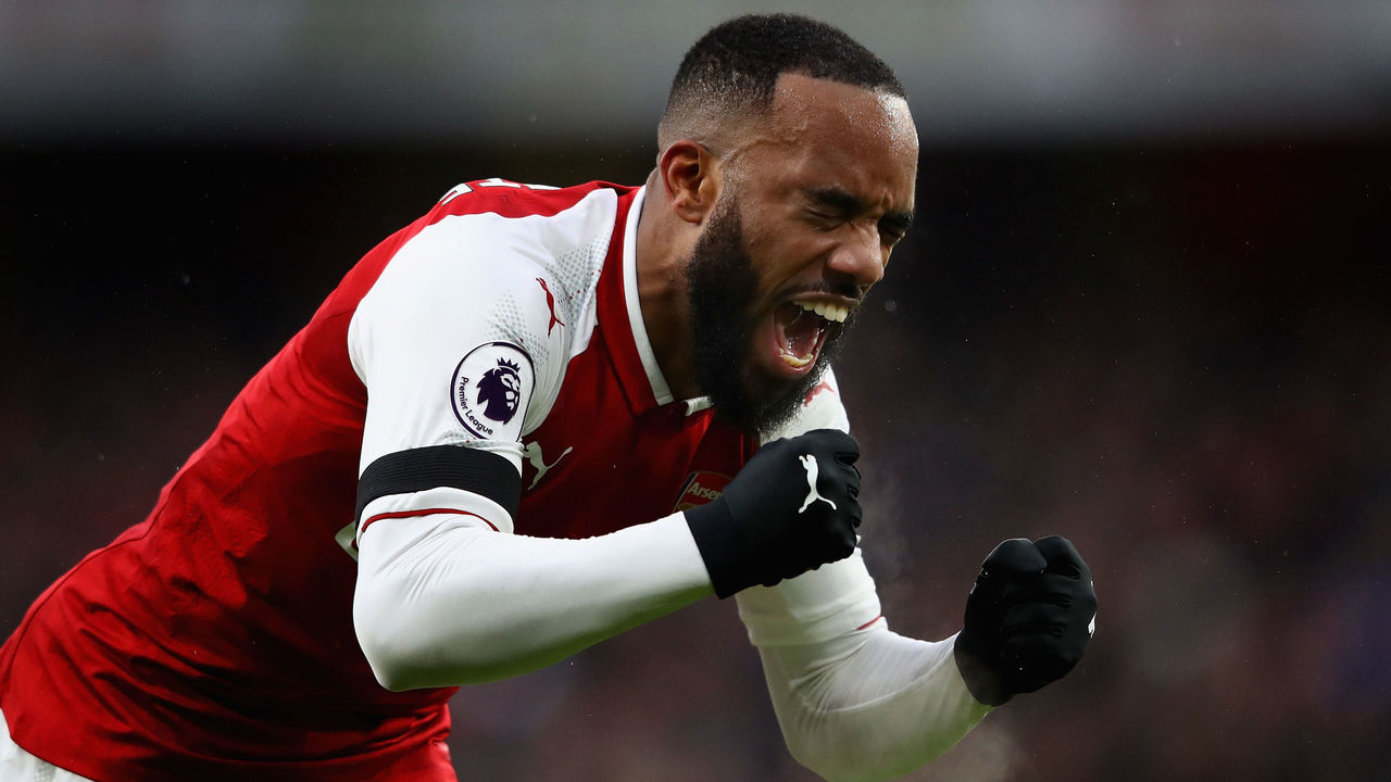 LONDON, ENGLAND - JANUARY 20: Alexandre Lacazette of Arsenal celebrates scoring his side's fourth goal during the Premier League match between Arsenal and Crystal Palace at Emirates Stadium on January 20, 2018 in London, England.