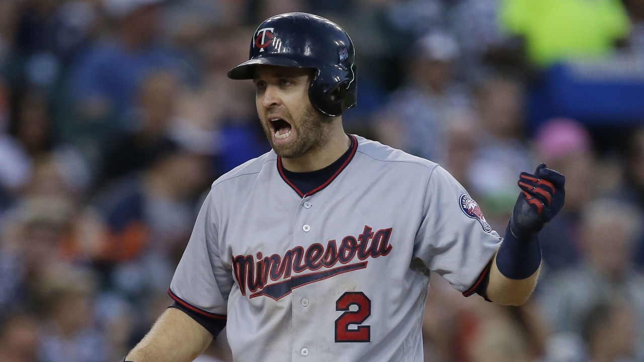 DETROIT, MI - SEPTEMBER 23: Brian Dozier #2 of the Minnesota Twins reacts after Matthew Boyd of the Detroit Tigers strikes him out during the fifth inning at Comerica Park on September 23, 2017 in Detroit, Michigan.