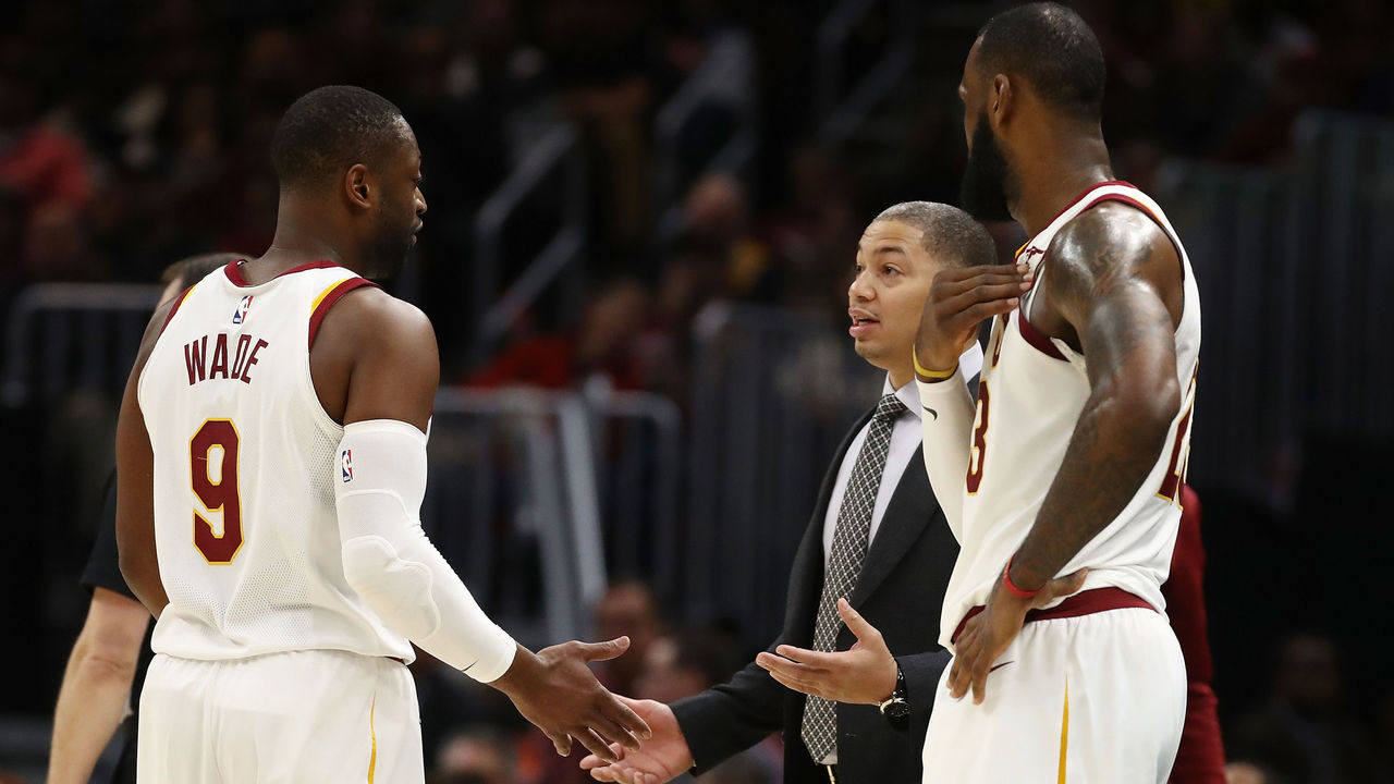 CLEVELAND, OH - NOVEMBER 07: Head coach Tyronn Lue of the Cleveland Cavaliers talks to Dwyane Wade #9 and LeBron James #23 while playing the Milwaukee Bucks at Quicken Loans Arena on November 7, 2017 in Cleveland, Ohio. Cleveland won the game 124-119.