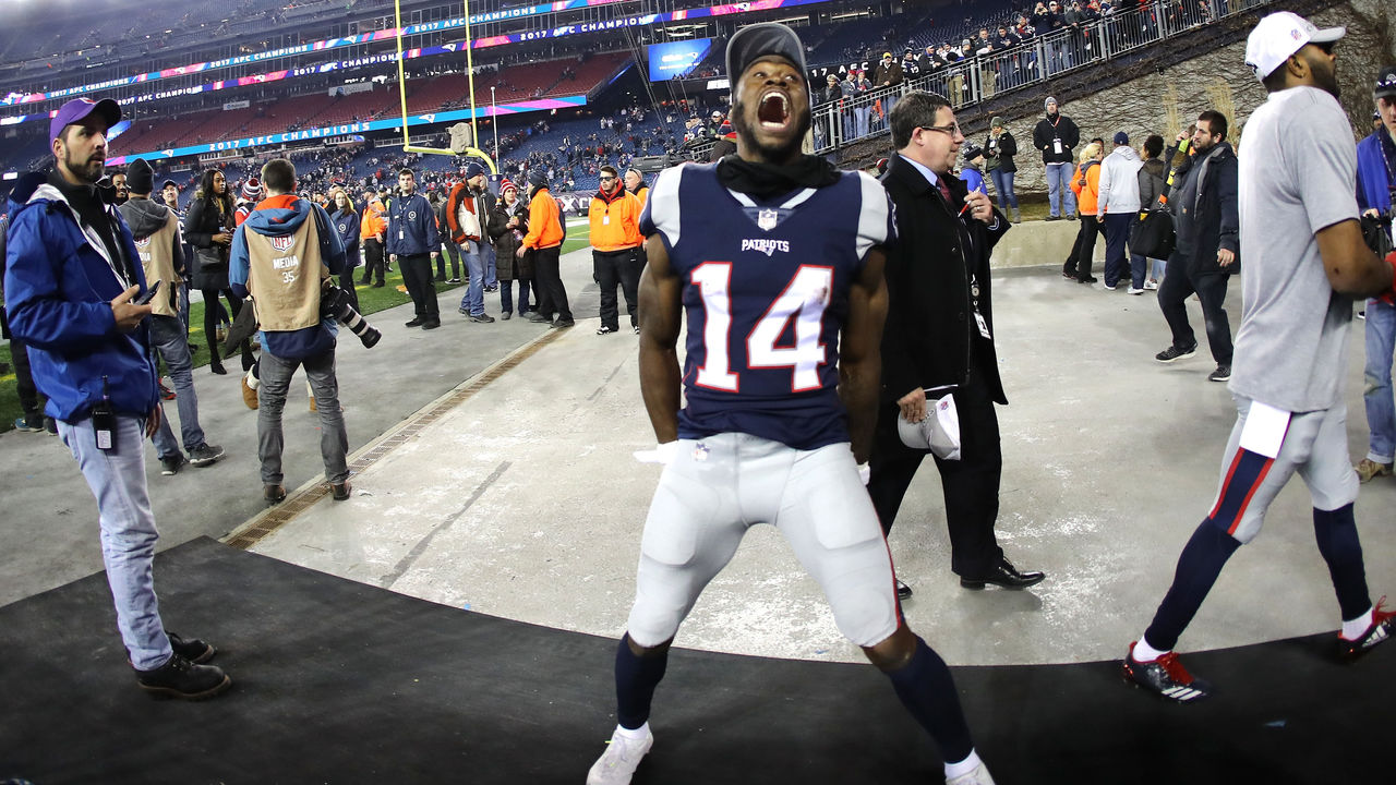 FOXBOROUGH, MA - JANUARY 21: Brandin Cooks #14 of the New England Patriots celebrates after the AFC Championship Game against the Jacksonville Jaguars at Gillette Stadium on January 21, 2018 in Foxborough, Massachusetts.