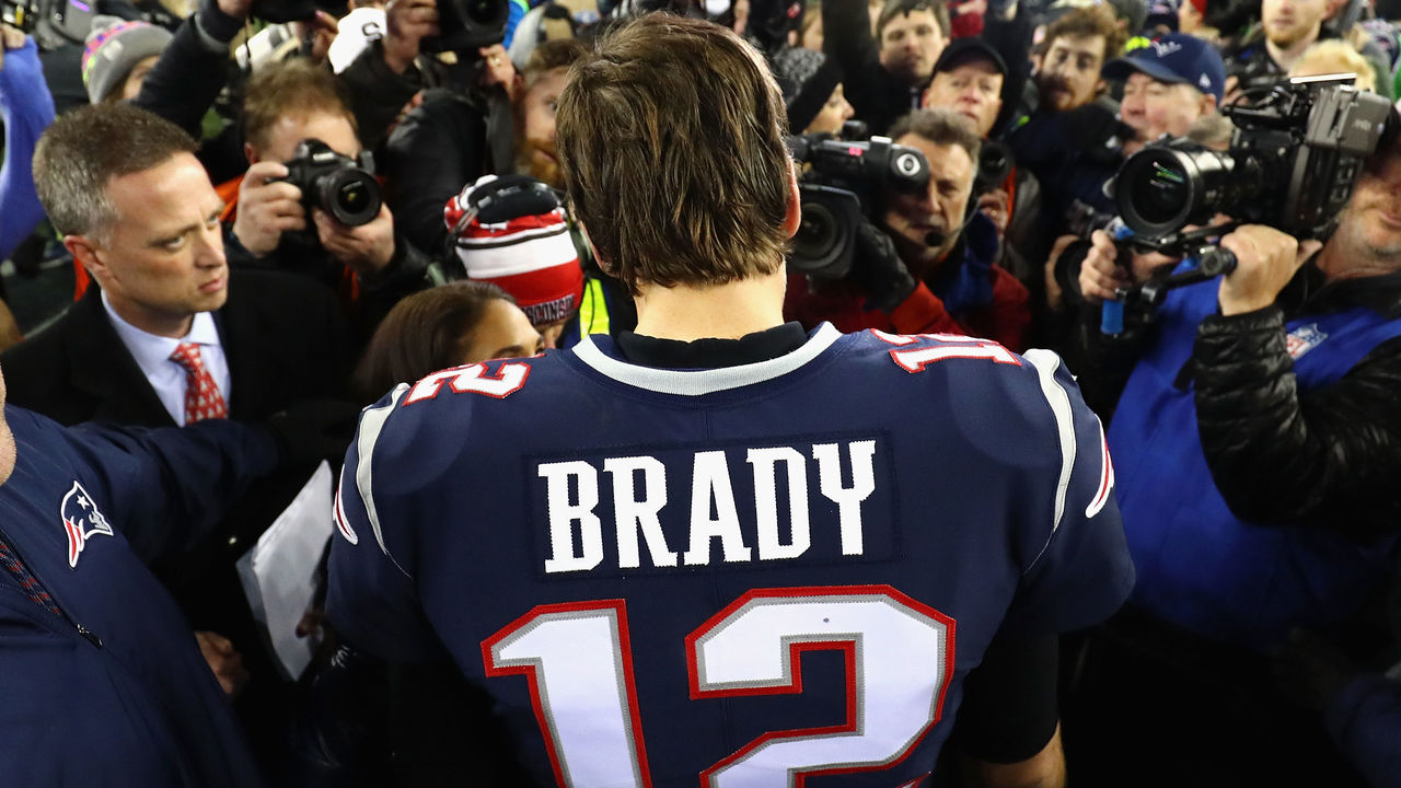 FOXBOROUGH, MA - JANUARY 21: Tom Brady #12 of the New England Patriots celebrates after winning the AFC Championship Game against the Jacksonville Jaguars at Gillette Stadium on January 21, 2018 in Foxborough, Massachusetts.