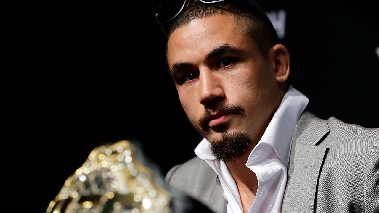 PERTH, AUSTRALIA - DECEMBER 12: Australia's inaugral UFC champion Robert Whittaker speaks at a press conference before a UFC 221 workout session on December 12, 2017 in Perth, Australia.