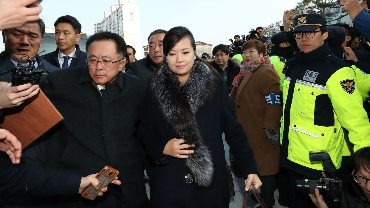 GANGNEUNG, SOUTH KOREA - JANUARY 21: (SOUTH KOREA OUT) Hyon Song-wol, head of the North Korea's Samjiyon Orchestra, arrive at the Gangneung Art Center to check the venues for its proposed art performances at Pyeongchang 2018 Winter Olympics on January 21, 2018 in Gangneung, South Korea.