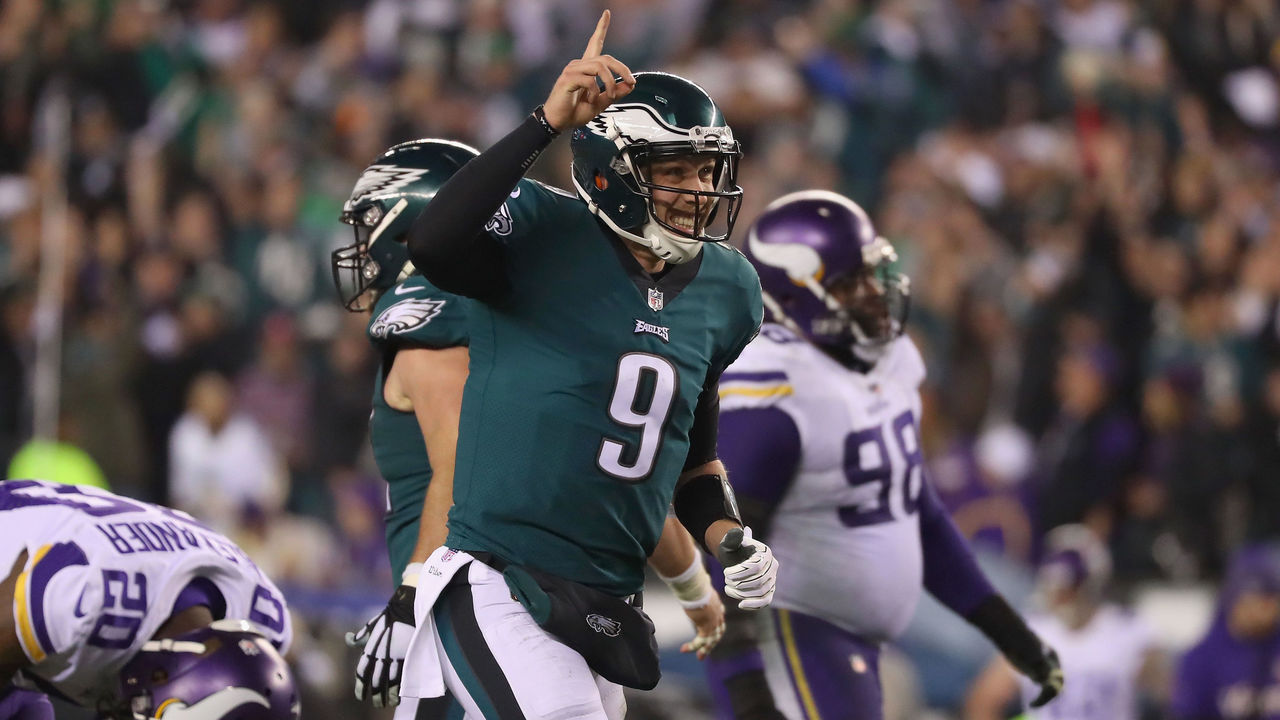 PHILADELPHIA, PA - JANUARY 21: Nick Foles #9 of the Philadelphia Eagles celebrates a first quarter touchdown against the Minnesota Vikings in the NFC Championship game at Lincoln Financial Field on January 21, 2018 in Philadelphia, Pennsylvania.