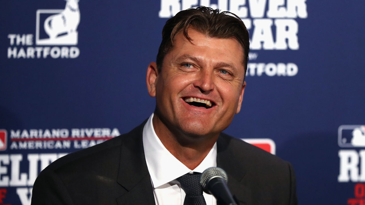 CHICAGO, IL - OCTOBER 29: Former pitcher Trevor Hoffman laughs during a ceremony naming the 2016 winners of the Mariano Rivera American League Reliever of the Year Award and the Trevor Hoffman National League Reliever of the Year Award before Game Four of the 2016 World Series between the Chicago Cubs and the Cleveland Indians at Wrigley Field on October 29, 2016 in Chicago, Illinois.