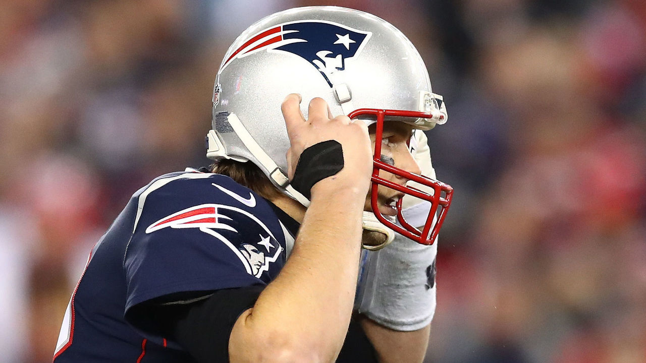 FOXBOROUGH, MA - JANUARY 21: Tom Brady #12 of the New England Patriots reacts in the fourth quarter during the AFC Championship Game against the Jacksonville Jaguars at Gillette Stadium on January 21, 2018 in Foxborough, Massachusetts.