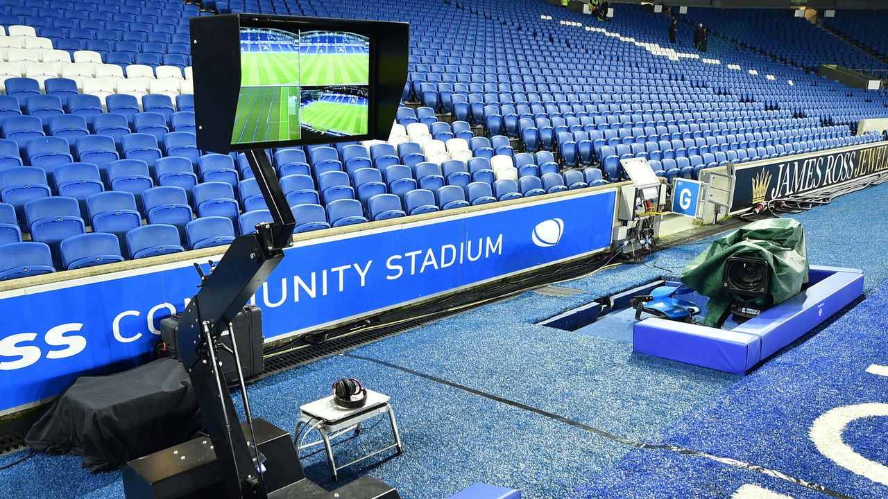 The Video Assistant Referee (VAR) system pitchside, is pictured prior to its use during the English FA Cup third round football match between Brighton and Hove Albion and Crystal Palace at the American Express Community Stadium in Brighton, southern England on January 8, 2018. / AFP PHOTO / Glyn KIRK /