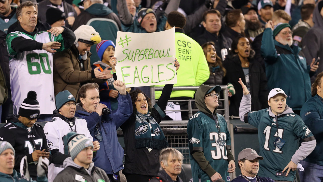 PHILADELPHIA, PA - JANUARY 21: Philadelphia Eagles fans cheer their team in the NFC Championship game against the Minnesota Vikings at Lincoln Financial Field on January 21, 2018 in Philadelphia, Pennsylvania.