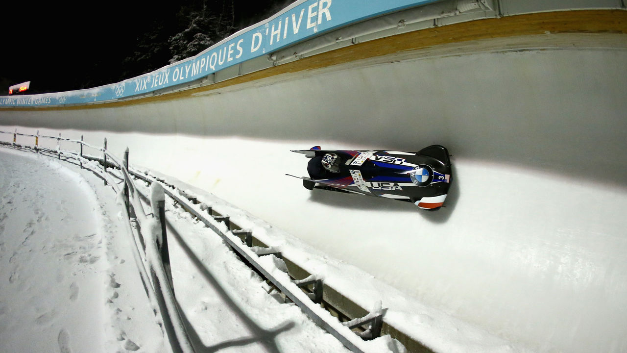 PARK CITY, UT - NOVEMBER 17: Elana Meyers Taylor and Lolo Jones of the USA compete in the Women's Bobsled during the BMW IBSF Bobsleigh and Skeleton World Cup at Utah Olympic Park on November 17, 2017 in Park City, Utah.
