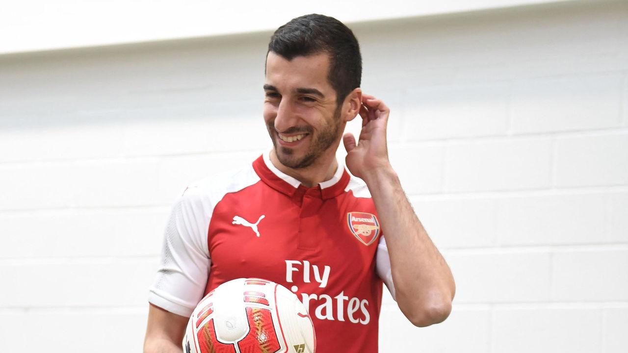 ST ALBANS, ENGLAND - JANUARY 22: Arsenal Unveil New Signing Henrikh Mkhitaryan at London Colney on January 22, 2018 in St Albans, England.